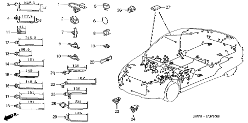 2003 insight DX 3 DOOR CVT HARNESS BAND - BRACKET diagram