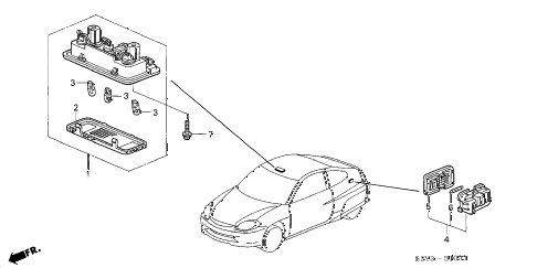 2002 insight DX 3 DOOR 5MT INTERIOR LIGHT diagram