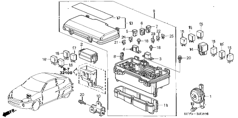 2001 insight DX 3 DOOR 5MT CONTROL UNIT (ENGINE ROOM) diagram