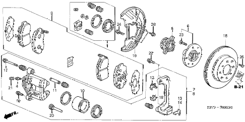 2002 insight DX 3 DOOR 5MT FRONT BRAKE diagram