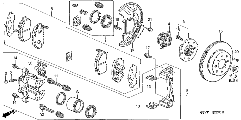 2003 insight DX 3 DOOR CVT FRONT BRAKE (CVT) diagram