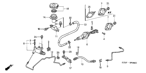 2003 insight DX(A/C) 3 DOOR 5MT CLUTCH MASTER CYLINDER diagram