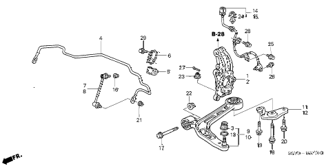 2001 insight DX 3 DOOR 5MT FRONT LOWER ARM diagram