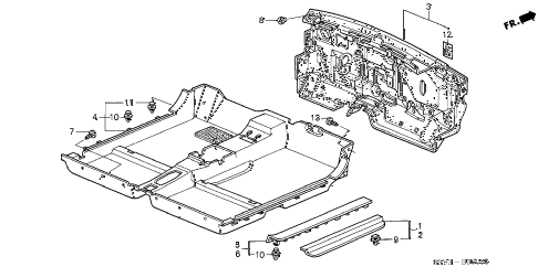2001 insight DX(A/C) 3 DOOR 5MT FLOOR MAT diagram