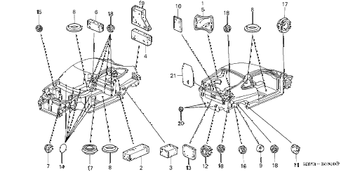 2001 insight DX 3 DOOR 5MT GROMMET diagram