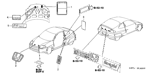 2003 insight DX 3 DOOR CVT EMBLEMS diagram