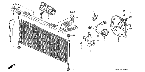 2002 insight DX 3 DOOR 5MT A/C AIR CONDITIONER (CONDENSER) diagram