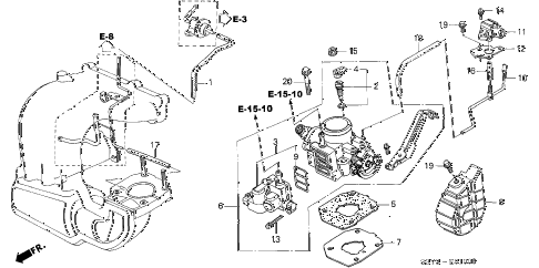 2000 insight DX 3 DOOR 5MT THROTTLE BODY diagram