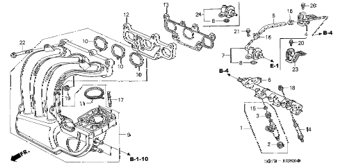 2001 insight DX 3 DOOR 5MT INTAKE MANIFOLD diagram