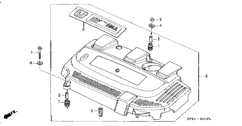 2001 insight DX 3 DOOR 5MT ENGINE COVER diagram