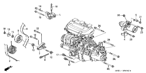 2002 insight DX 3 DOOR CVT ENGINE MOUNTING BRACKET diagram