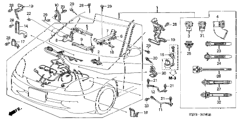 2001 insight DX(A/C) 3 DOOR 5MT ENGINE WIRE HARNESS diagram