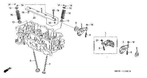 2003 insight DX 3 DOOR CVT VALVE - ROCKER ARM diagram