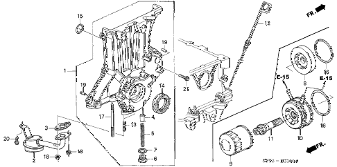 2003 insight DX 3 DOOR CVT OIL PUMP - OIL STRAINER diagram