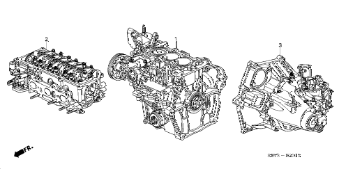 2002 insight DX 3 DOOR 5MT ENGINE ASSY. - TRANSMISSION ASSY. diagram