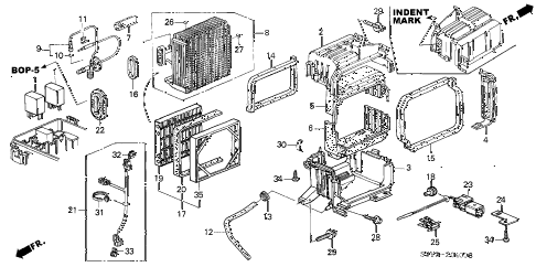 2000 insight DX 3 DOOR 5MT A/C COOLING UNIT diagram