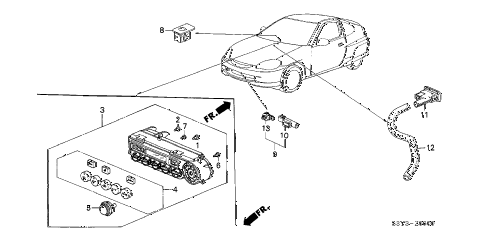 2001 insight DX 3 DOOR 5MT A/C SENSOR diagram