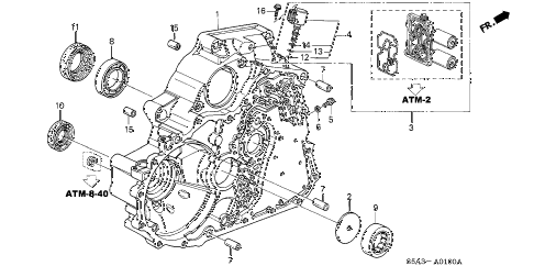 2001 civic DX(SIDE SRS) 4 DOOR 4AT AT TORQUE CONVERTER HOUSING diagram