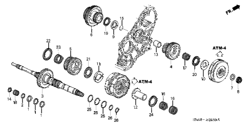 2003 civic EX(SIDE SRS) 4 DOOR 4AT AT MAINSHAFT diagram