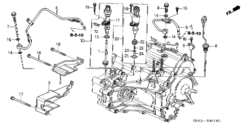 2003 civic LX 4 DOOR 4AT AT ATF PIPE - SPEEDOMETER GEAR diagram