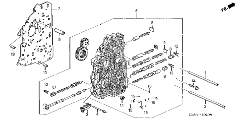 2001 civic DX(A/C) 4 DOOR 4AT AT MAIN VALVE BODY diagram