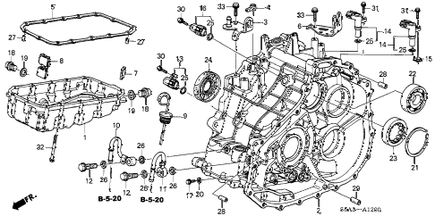 2002 civic GX 4 DOOR CVT CVT TRANSMISSION HOUSING - OIL PAN diagram