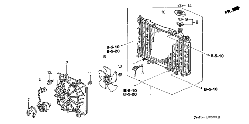 2002 civic LX 4 DOOR 5MT RADIATOR (DENSO) diagram