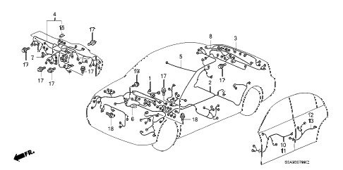 2003 civic LX 4 DOOR 4AT WIRE HARNESS diagram