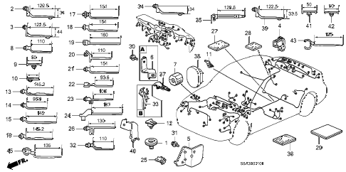 2002 civic LX 4 DOOR 5MT HARNESS BAND - BRACKET diagram
