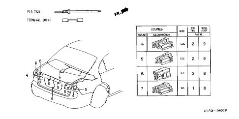 2002 civic GX 4 DOOR CVT ELECTRICAL CONNECTORS (RR.) diagram