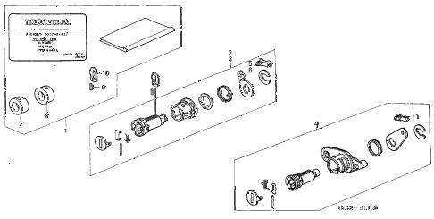 2003 civic DX 4 DOOR 5MT KEY CYLINDER KIT diagram
