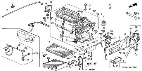 2001 civic DX(SIDE SRS) 4 DOOR 5MT HEATER UNIT diagram