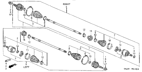 2002 civic DX(SIDE SRS) 4 DOOR 5MT DRIVESHAFT diagram