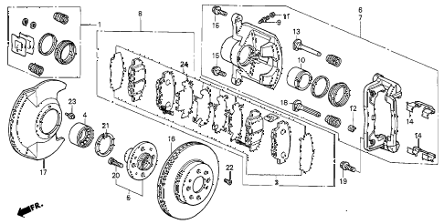 2001 civic DX(SIDE SRS) 4 DOOR 5MT FRONT BRAKE diagram