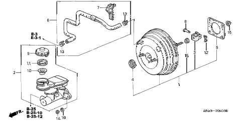 2001 civic LX(SIDE SRS) 4 DOOR 5MT BRAKE MASTER CYLINDER  - MASTER POWER (1) diagram