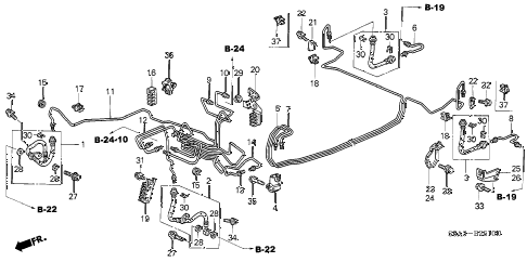 2002 civic EX(SIDE SRS) 4 DOOR 5MT BRAKE LINES (ABS) (1) diagram