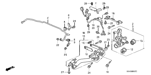 2001 civic LX 4 DOOR 4AT REAR LOWER ARM diagram