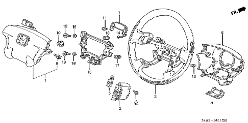 2001 civic DX 4 DOOR 4AT STEERING WHEEL (SRS) (1) diagram