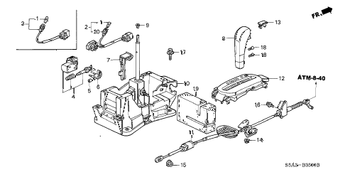 2003 civic DX(A/C) 4 DOOR 4AT SELECT LEVER (1) diagram