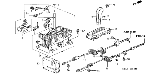 2002 civic GX 4 DOOR CVT SELECT LEVER (2) diagram