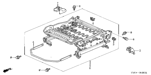 2003 civic DX 4 DOOR 4AT FRONT SEAT COMPONENTS (L.) diagram