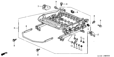 2001 civic EX(SIDE SRS) 4 DOOR 5MT FRONT SEAT COMPONENTS (MANUAL HEIGHT) (L.) diagram