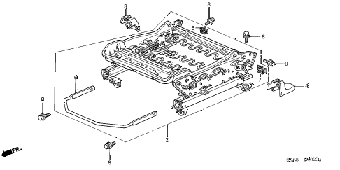 2003 civic LX 4 DOOR 4AT FRONT SEAT COMPONENTS (R.) diagram