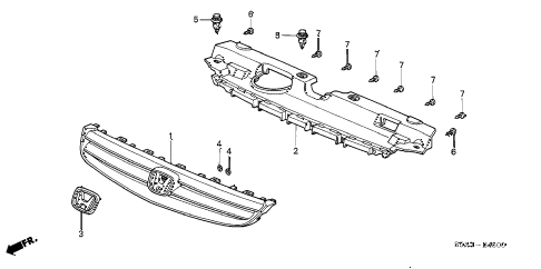 2001 civic EX 4 DOOR 5MT FRONT GRILLE diagram