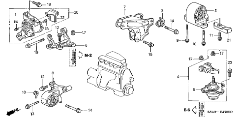 2002 civic EX(SIDE SRS) 4 DOOR 5MT ENGINE MOUNTS (MT) diagram