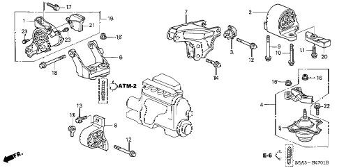 2002 civic DX 4 DOOR 4AT ENGINE MOUNTS (AT) (1) diagram