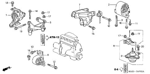 2003 civic GX 4 DOOR CVT ENGINE MOUNTS (CVT) diagram