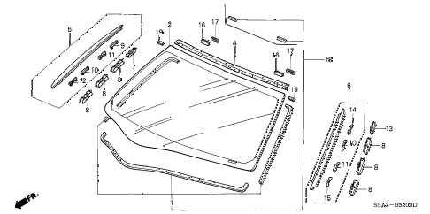 2003 civic DX 4 DOOR 4AT FRONT WINDSHIELD diagram