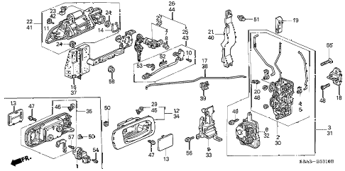 2003 civic DX(A/C) 4 DOOR 4AT FRONT DOOR LOCKS diagram