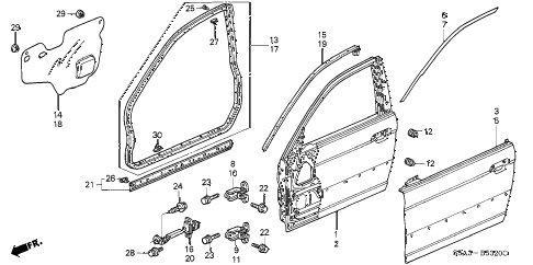 2003 civic DX(SIDE SRS) 4 DOOR 4AT FRONT DOOR PANELS diagram